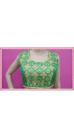 Parrot Green & Golden Colour With Rhombus Designs