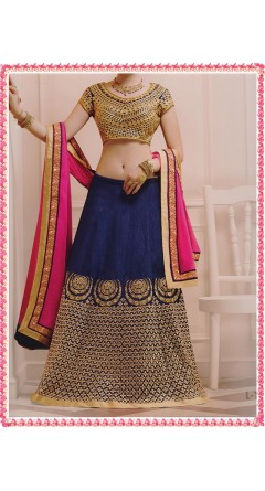 Catalina Blue & Rani Pink With Golden Curves