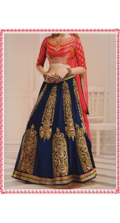 Bright Red & Navy Blue With Golden Designs