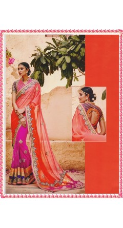 Attractive Combination of Orange & Rani Pink