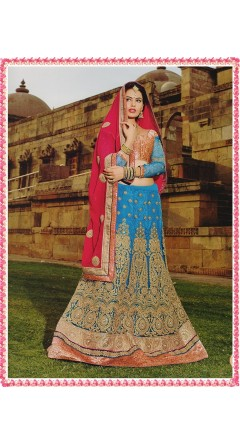 Azure & Rani Pink With Golden Designs