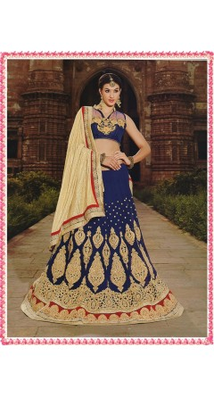 Oxford Blue & Cream With Golden Embroidery Works