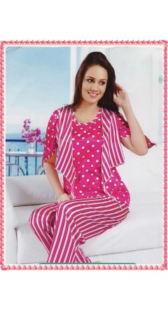 Rani Pink Based White Stripes and Circles