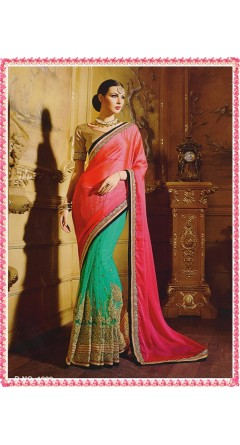 Attractive Pink &  Turquoise With Golden Designs