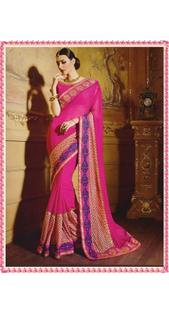 Bright Pink Based Beautiful Embroidery Works