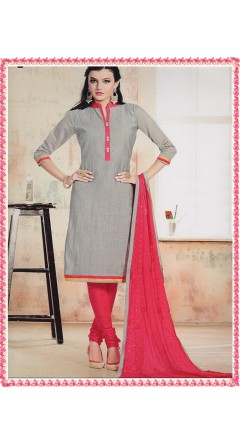 Grey With Tomato Pink With Embroidery Designs
