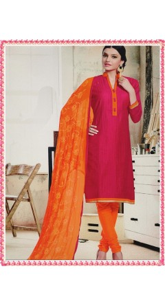 Dark Pink & Orange With Embroidery Designs