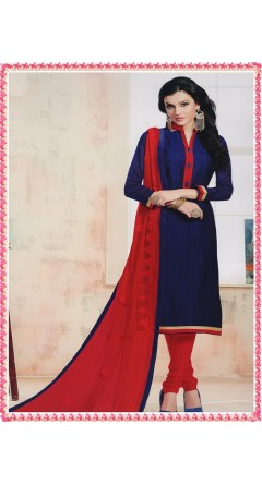 Navy Blue & Red With Embroidery Designs