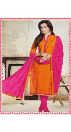 Orange & Rani Pink With Embroidery Designs