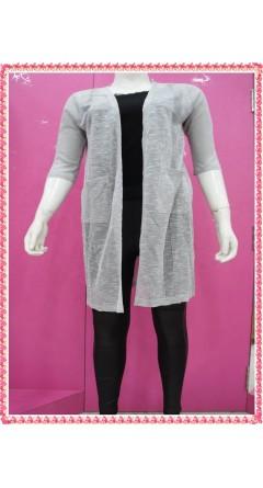 Grey Colour Shrug With Stripes