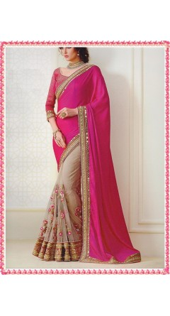 Rani Pink & Champagne Pink With Flowers